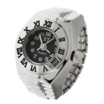 Fashion Roman Number Style Decorative Finger Ring Watch(Black)