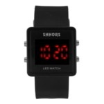Sports Style Red LED Display Soft Plastic Band Unisex Quartz LED Wrist Watch(Black)