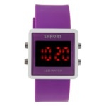 Sports Style Red LED Display Soft Plastic Band Unisex Quartz LED Wrist Watch(Purple)