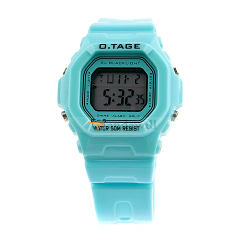 O.TAGE Digital Alarm Watch Sport Wristwatch Green for Student
