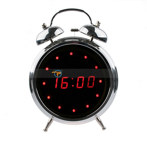 Red LED Twin Bell Alarm Digital Clock 5.7 inch Mirror
